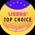 Присъдена на компании в листата на водещите 10, в категорията за най-високо оценени от потребителите уеб хостинг компании.